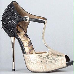 Sam Edelman Scarlett Gold & Black Spike Stiletto